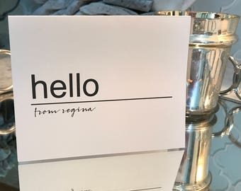 "Personalized, Black and White ""Hello"" Note Cards Set of 10"