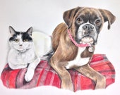Dolly & Bean - Custom Pet Portrait - Reserved for Emily