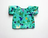 15 Inch Doll Shirt, Short-Sleeved Aqua Bird Shirt, Flowery Cotton Shirt, Realistic Doll Clothes, Doll Blouse