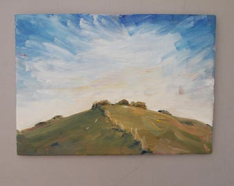 Landscape Painting Oil Paint English Countryside Small Canvas Board Art Original Green Gray Hillside Sky Skyscape Clouds Cloudscape