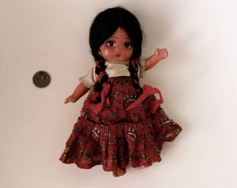 Vintage Ethnic DOLL, vintage or antique Composition Doll, Southwest Doll, Moveable arms & legs, Mexico Doll Souvenir ?, Hand painted face