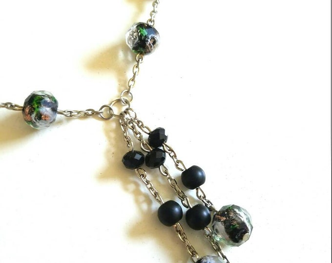 Black Gold Beaded Glass Rose Bead Chain Dangle Necklace