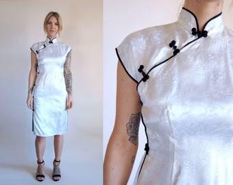 Vintage Dress White Mandarin Collar Cheongsam