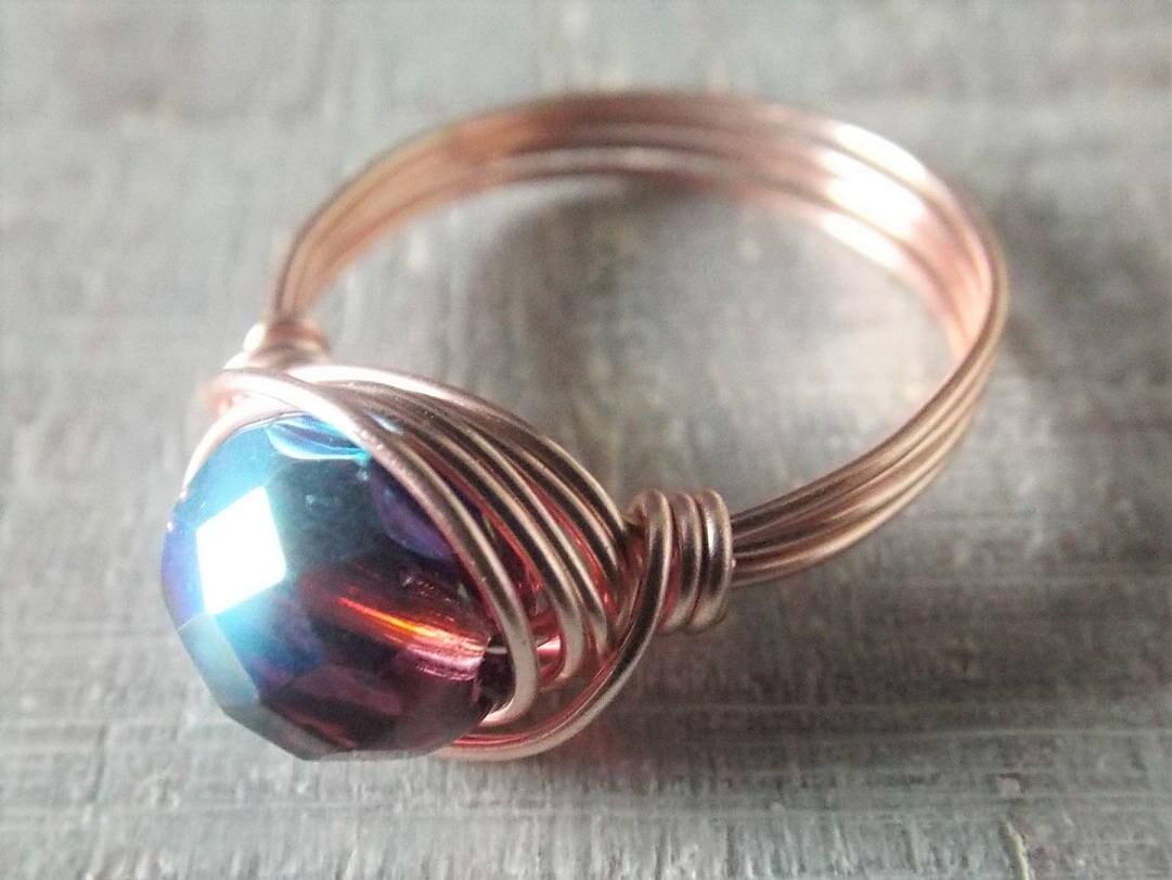Rose Gold Draht gewickelt Ring lila Glas Ring