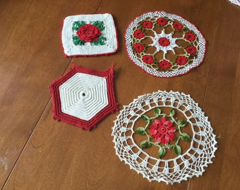 2 Little Vintage Kitchen Crocheted Doilies and 2 Little Crocheted Trivets Both Red and White/Cream