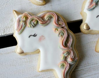 Unicorn with Rainbow Hair Sugar Cookies - 1 Dozen Unicorn Party, Unicorn Hair, Unicorn Cookies, Glitter Cookies, Unicorn Horn, Magical