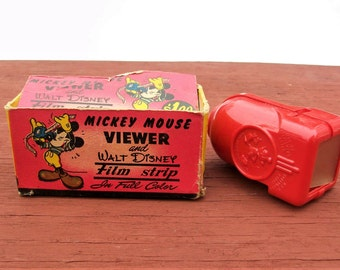 Vintage Mickey Mouse Viewer and Walt Disney Film Strip In Full Color