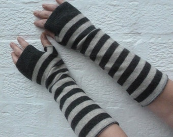 Cashmere arm warmers grey goth accessories striped fingerless gloves eco-friendly handmade gloves texters gift for her medium long gloves.