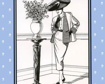 Folkwear Swing Suit 1950s Style Jacket & Slim Skirt sizes XS-XL Sewing Pattern # 255