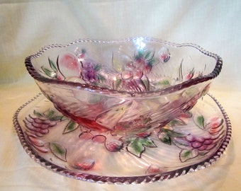 Large Raised Fruit Serving Bowl and Serving Platter * grapes, apples, cherries, strawberries, pears fruit bowl