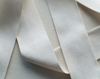 2 Inch Wide Twill Tape,  Natural Cotton Heavyweight - 1, 5 or 10 yards
