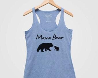 Bear tank top etsy sale mama bear mothers day women tank top triblend racerback tank top hand screen print publicscrutiny Image collections