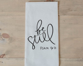 Bible verse towel etsy be still tea towel present housewarming gift hand towel bible verse negle Image collections