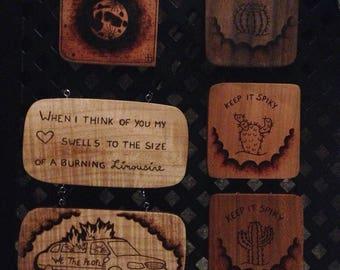 Keep it spikey - wood burned plaque