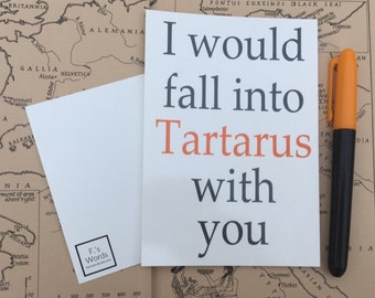 I Would Fall into Tartarus With You Greek Mythology Postcard Art Print Gift Tag Inspired by Percy Jackson/Heroes of Olympus