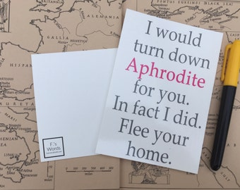 I Would Turn Down Aphrodite For You Greek Mythology Postcard Art Print Gift Tag Inspired by Percy Jackson/Heroes of Olympus
