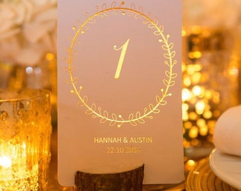 Personalised Wedding Table Numbers/ Wedding Table Decor/Table Centerpiece Wreath Design in Gold/Silver/Rose Gold/Champagne Gold/Colour Foils