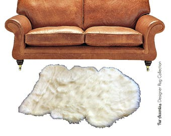 Plush Faux Fur Accent Rug - Shaggy Country Edge Sheepskin - 6 Colors - Designer Art Rugs by Fur Accents - USA