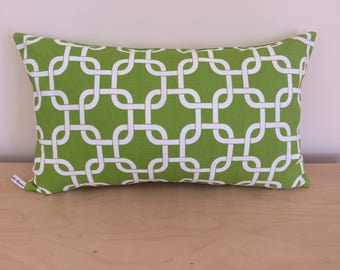 SALE, Chartreuse Green Lumbar Pillow Cover, 12''x20'' Geometric Chartreuse Green Pillow Cover, Decorative Pillow Cover