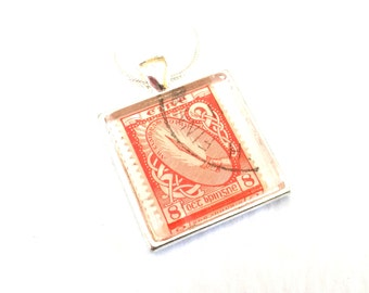 Ireland Postage Stamp Glass Tile Pendant Necklace Irish Recycled Material Repurposed Postal Mail Red Eire Upcycled Paper Eco Jewelry