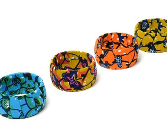 Flower Chunky bangle, African Fabric Covered Bangle, Ankara bangle, Floral bangles, Gift for her