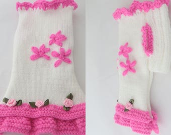 Small dog clothes hand knitted Chihuahua dress,   dog sweater in hot pink and white with flowers design