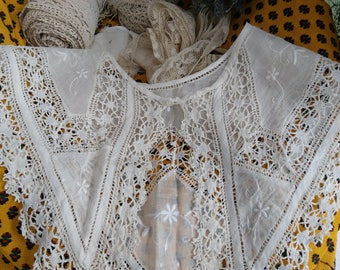Antique French Fine Lace Collar Hand Embroidered Handmade White Cotton Bridal Collar Sewing Project Costume Movies #sophieladydeparis