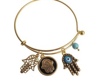 SALE Hamsa Bracelet/ Hand Of Fatima Bracelet/ Brass Charms/ Evil Eye/ Turkish Evil Eye