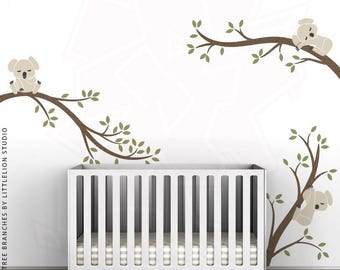 Koala Tree Branches Wall Decal by LittleLion Studio. Metallic Copper, Olive Green, Light Beige, Charcoal.