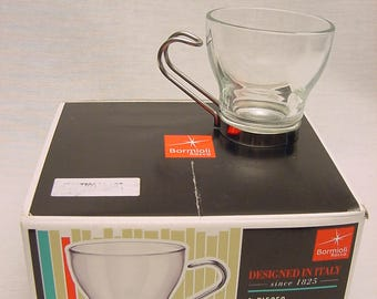 Modern Set (4) Espresso Cups Tempered Glass Stainless Steel Handle Bormioli Rocco