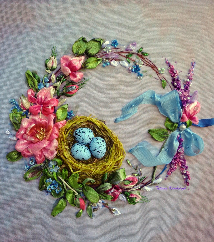 Picture wreath silk ribbon