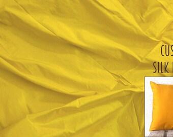 Bright Yellow Pure Silk Dupioni Abstract Pillow Cover - Custom made - Fabric Code - SLDP28