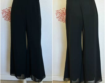 Vintage Palazzo Pants | Sheer Palazzo | Palazzo Trousers | Wide Legged Pants | Black Pants | Flowy Pants | Wide Leg Pants | 90s Pants