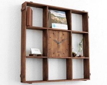 large wall clock rustic shelf reclaimed wood shelf wall clock rustic wall