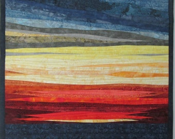 Art Quilt Landscape Sunset 48, Wall Hanging