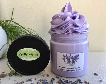 Lavender-Almond-Vanilla-Deluxe whipped Creamy Soap In A Jar-Handmade by SPA Uptown