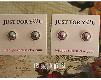 Bridesmaid Gift White Earrings Stud silver Plated Bride White Pearl Earrings Also Grey and Lt Purple Will You Be My Bridemaid