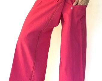 FZ0019 Hand Sewing Inseam design for Thai Fisherman Pants Wide Leg pants, Wrap pants, Unisex pants