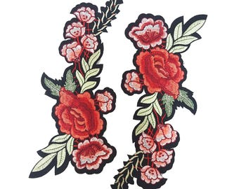 Embroidered Gucci Style Patch, Iron On Flower Patch, Embroidered Rose Badge