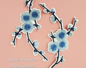 Iron on Blue Plum Flower Patch Applique, Hot Fix Flower Bloom Appliques
