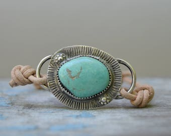 Sterling Turquoise Bracelet. Boho. Turquoise . Leather . Hand Stamped. Wedding Gift .Bracelet. Boho .