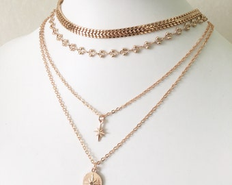 Lola - Silver, Gold or Rose Gold Layered Necklace