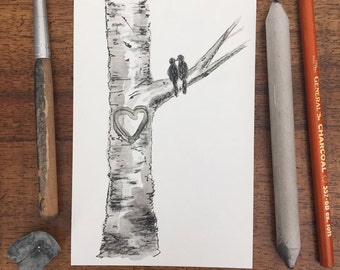 Love Bird Aspen Tree-Couples Initials-Love and Wedding Ink and Charcoal Drawing 4x6