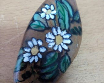 Floral Handpainted Pebble stone rock from sea of Galilei,Holyland, PaperWeight,Door stopper