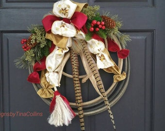 CUSTOM ORDER WREATH Western Christmas Woodland Lariat Antler Rope Door Wreath