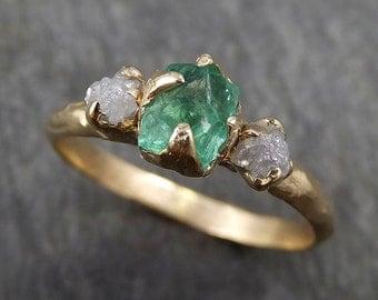 Three raw Stone Diamond Emerald Engagement Ring 14k Gold Wedding Ring Uncut Birthstone Stacking Ring Rough Diamond Ring byAngeline 0415