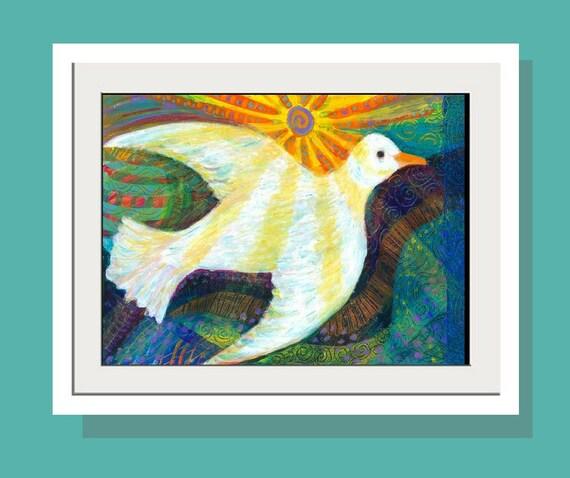 Kids Wall Art - Brand New Day  Art Print -White Dove -JOy Bird Print - Original Acrylic Painting - Folk Art - Peace - Nursery - Happy - love