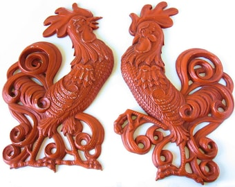 Vintage Rooster Wall Plaques Cast Iron Plaques Rooster Decor Orange Roosters Vintage Kitchen Decor Country Kitchen Plaques Chicken Decor