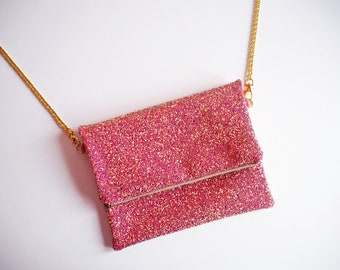Pink & Rose Gold Glitter Fold Over Clutch, Sparkly Pink Fold Over Bag, YKK Zip, Glitter Clutch with Gold Chain Strap,