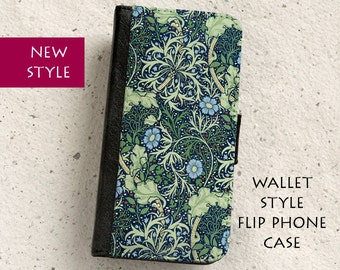 iPhone Case (all models) - William Morris  - Seaweed Floral Design - wallet style flip case -  Samsung Galaxy S4,S5,S6,S7Edge,S8 & more